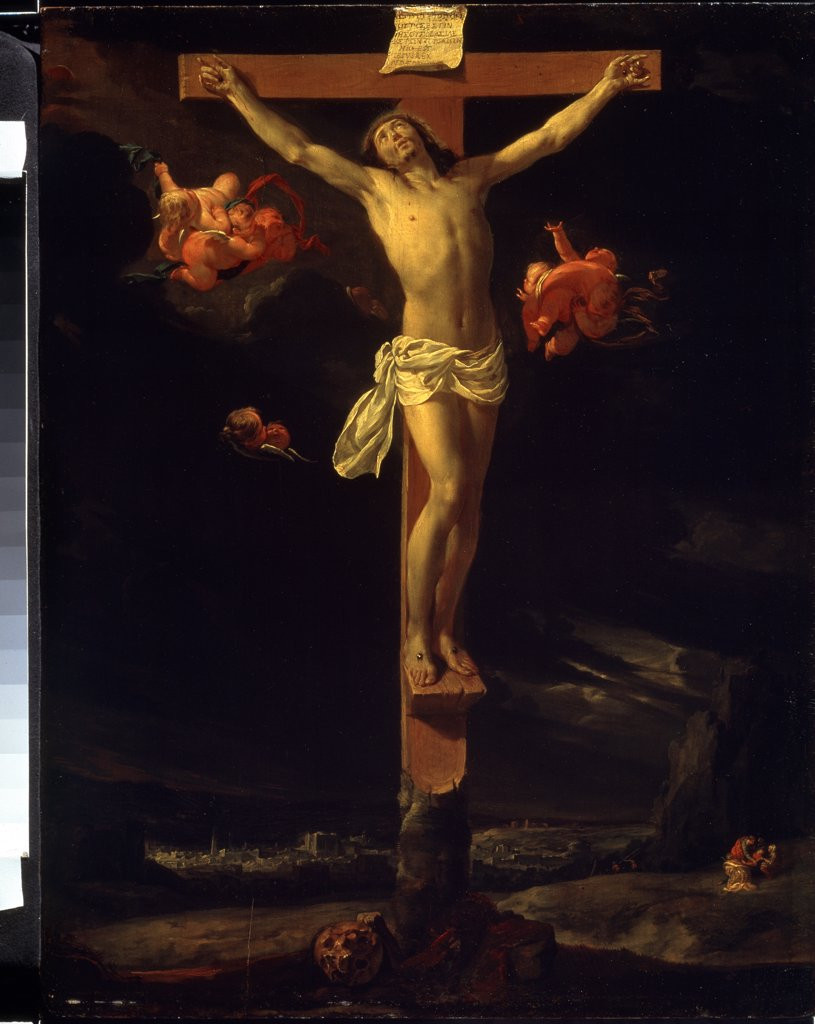 Stock Photo: 4266-7464 Crucifixion by Charles Le Brun, oil on canvas, 1637, 1619-1690, Russia, Moscow, State Pushkin Museum of Fine Arts, 52x41