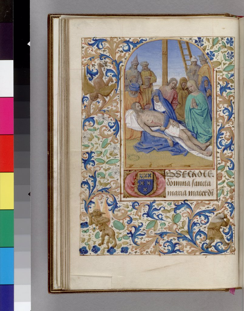 Stock Photo: 4266-7466 Lamentation over Christ by workshop of Jean Fouquet, watercolor on parchment, 1450-1499, USA, New York, Morgan Library & Museum, 16,2x10,6
