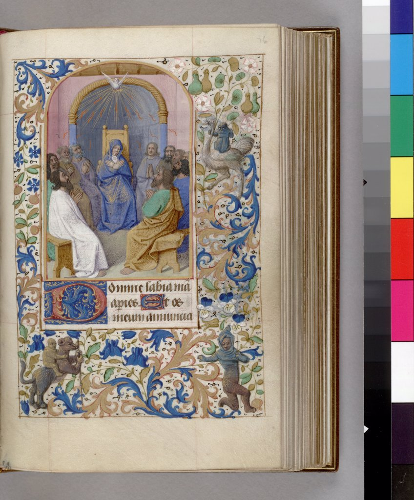 Stock Photo: 4266-7467 Descent of Holy Spirit by workshop of Jean Fouquet, watercolor on parchment, 1450-1499, USA, New York, Morgan Library & Museum, 16,2x10,6