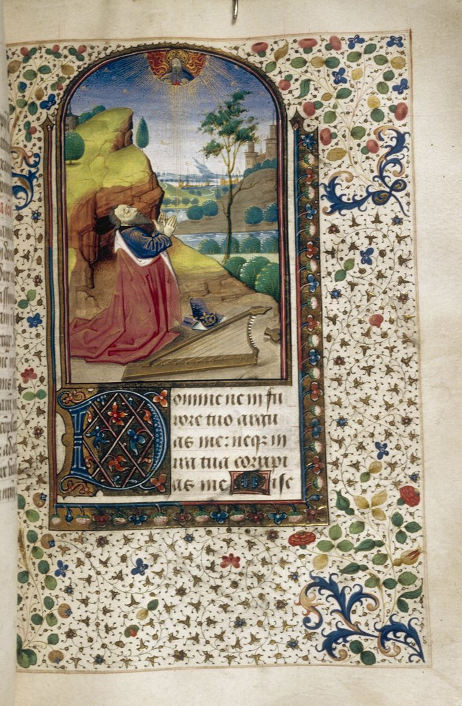 Stock Photo: 4266-7491 King David by Anonymous artist, Watercolor on parchment, 1450-1499, Usa, California, The Huntington, 20,3x14,2