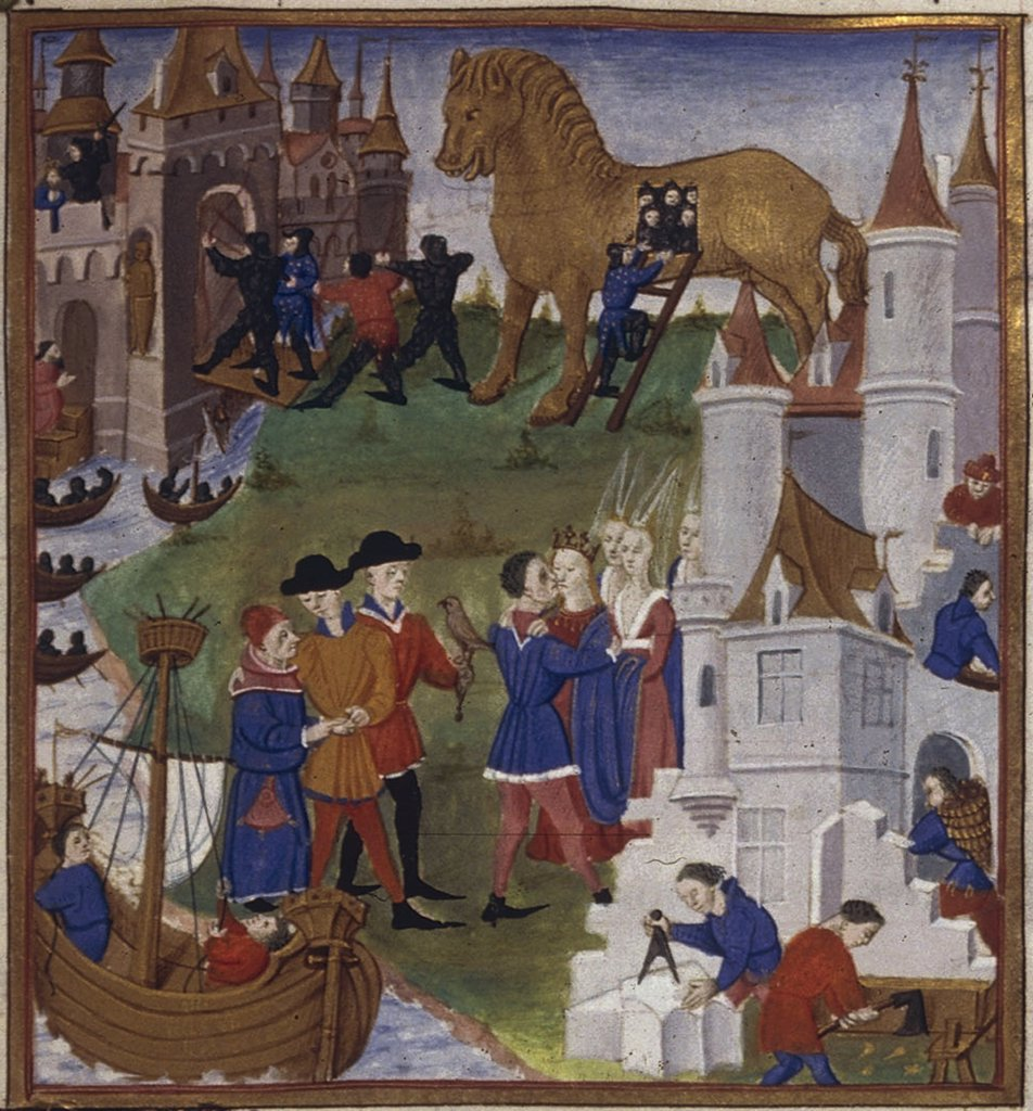 Stock Photo: 4266-7494 People in town by Coetivy Master, Watercolor on parchment, 1450-1499, active circa 1450-1485, Usa, California, The Huntington,