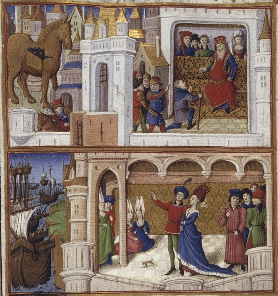 Stock Photo: 4266-7495 Town scene by Coetivy Master, Watercolor on parchment, 1450-1499, active circa 1450-1485, Usa, California, The Huntington,