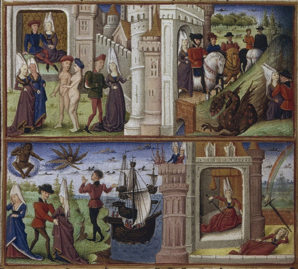 Stock Photo: 4266-7496 People in front of castle by Coetivy Master, Watercolor on parchment, 1450-1499, active circa 1450-1485, Usa, California, The Huntington,