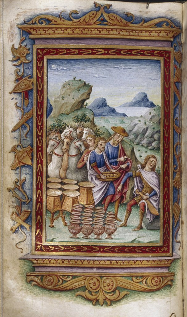 Craftsmen by Cristoforo Majorana, Watercolor on parchment, 1485-1499, active circa 1480-1494, Usa, California, The Huntington, 16,6x9,3 : Stock Photo