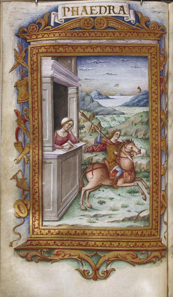 Stock Photo: 4266-7504 Knight riding horse by Cristoforo Majorana, Watercolor on parchment, 1485-1499, active circa 1480-1494, Usa, California, The Huntington, 16,6x9,3