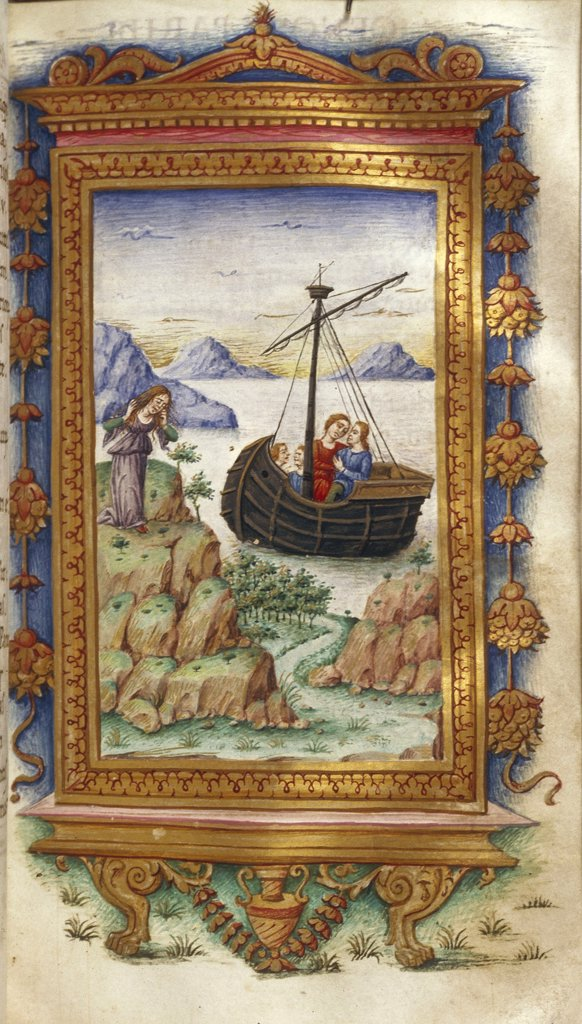 Stock Photo: 4266-7505 People in boat by ristoforo Majorana, Watercolor on parchment, 1485-1499, active circa 1480-1494, Usa, California, The Huntington, 16,6x9,3