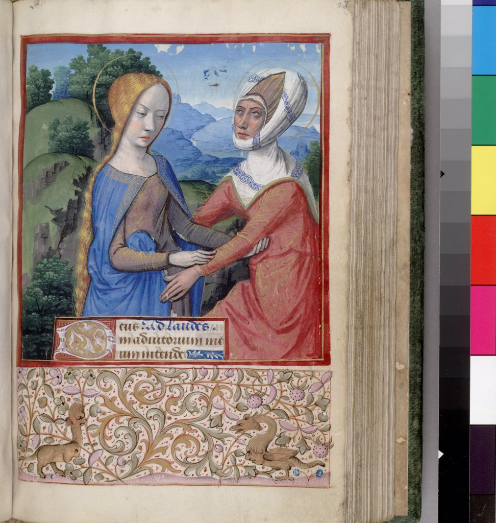 Stock Photo: 4266-7513 Visitation of Mary by Jean Bourdichon, Watercolor on parchment, 1485-1499, 1457-1521, Usa, California, The Huntington,