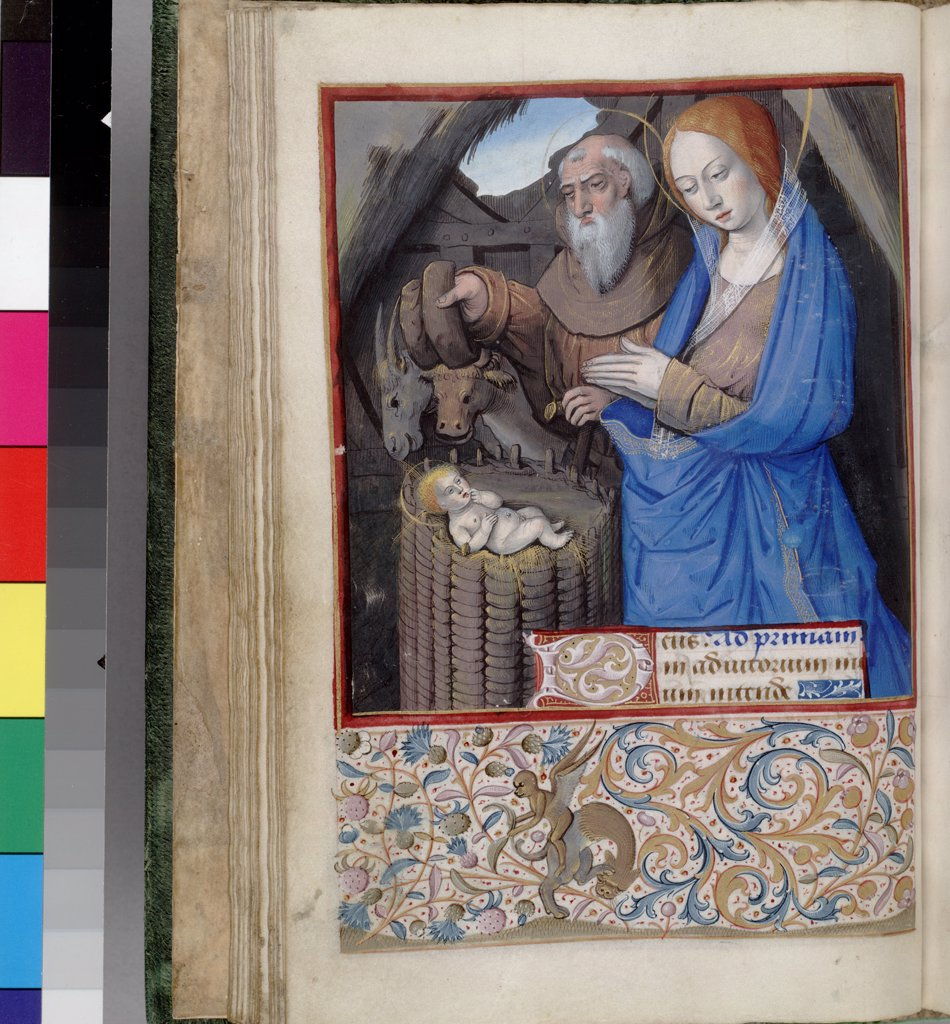 Stock Photo: 4266-7514 Adoration of Christ Child by Jean Bourdichon, Watercolor on parchment, 1485-1499, 1457-1521, Usa, California, The Huntington,