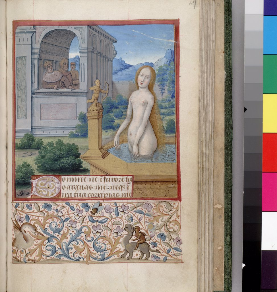 Stock Photo: 4266-7515 Naked woman in fountain by Jean Bourdichon, Watercolor on parchment, 1485-1499, 1457-1521, Usa, California, The Huntington,