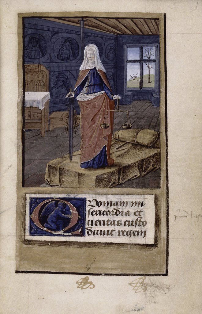 Stock Photo: 4266-7516 Woman with sword by Jean Colombe, Watercolor on parchment, 1475-1499, circa 1430-circa 1493, Usa, New York, New York Public Library