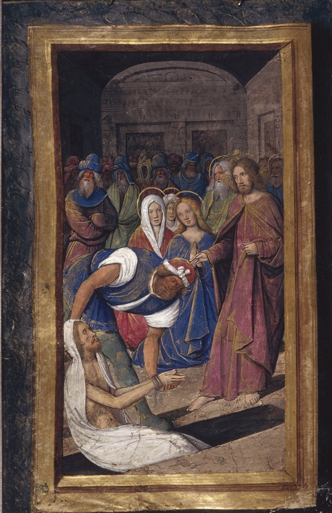 Stock Photo: 4266-7522 Miracle of Lazarus by Jean Poyet, Watercolor on parchment, circa 1490-1510, active 1483-1497, Usa, California, The Huntington, 18,7x11,7