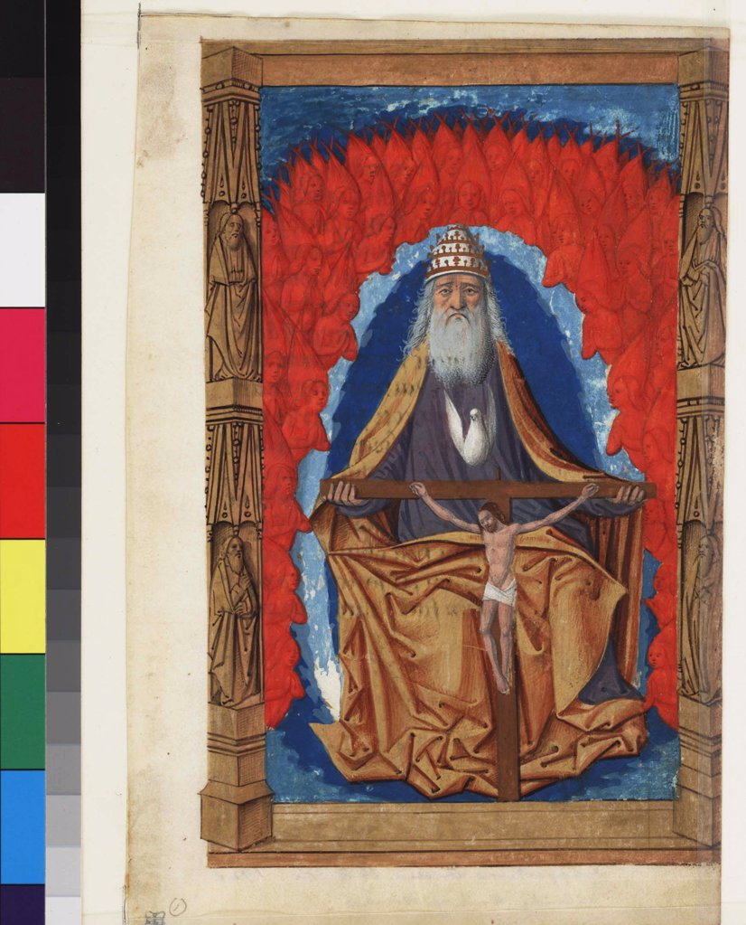 Stock Photo: 4266-7527 God Father by Master of Guillaume Lambert, watercolour on parchment, 1475-1499, active 1475-1499, USA, Philadelphia, Free Library of Philadelphia