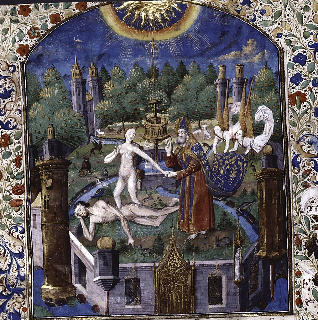 Stock Photo: 4266-7530 Expulsion from paradise by Maitre Francois, watercolour on parchment, 1450-1475, active 1460-1480, USA, New York, New York Public Library