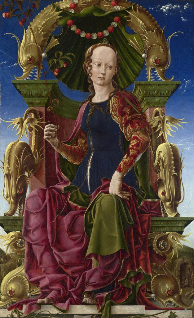 Stock Photo: 4266-7532 Calliope by Cosimo Tura, oil on wood, 1455-1460, before 1431-1495, School of Ferrara, England, London, National Gallery, 116,2x71