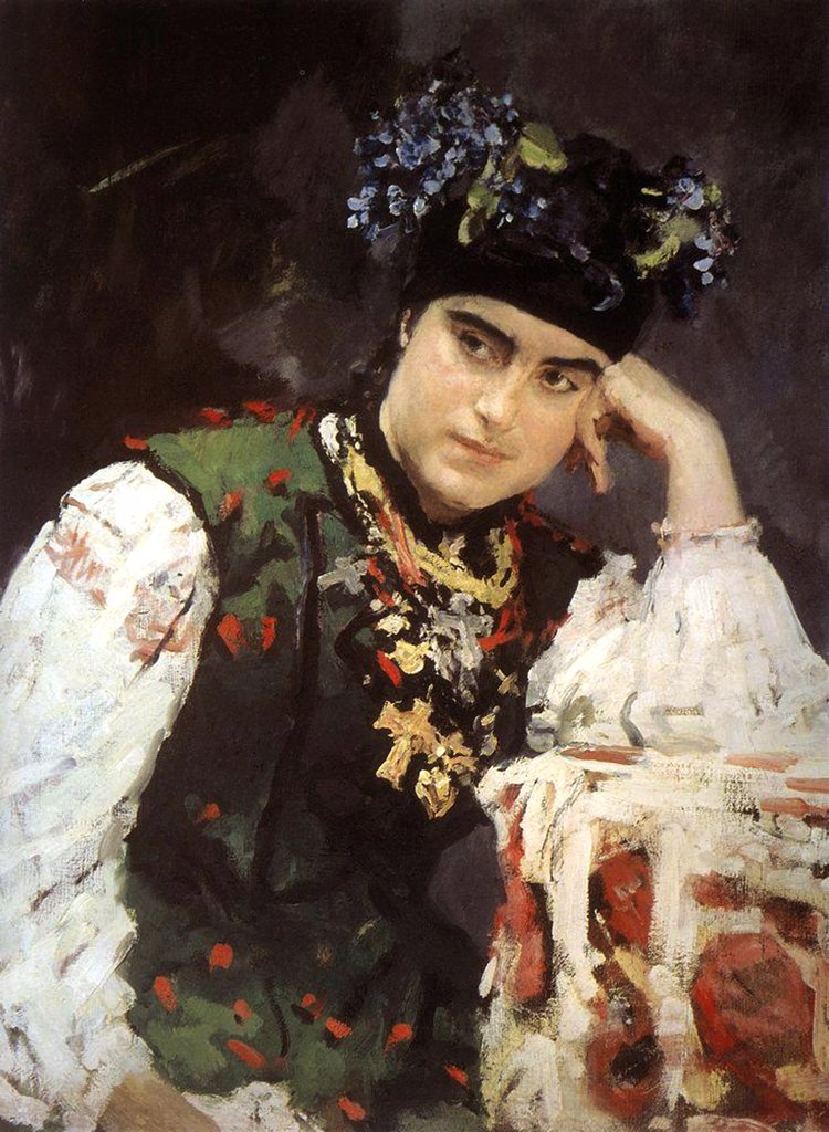 Portrait of woman in traditional outfit by Valentin Alexandrovich Serov, oil on canvas, 1889, 1865-1911, Russia, Kazan, State Art Museum of Republic Tatarstan, 71x57 : Stock Photo