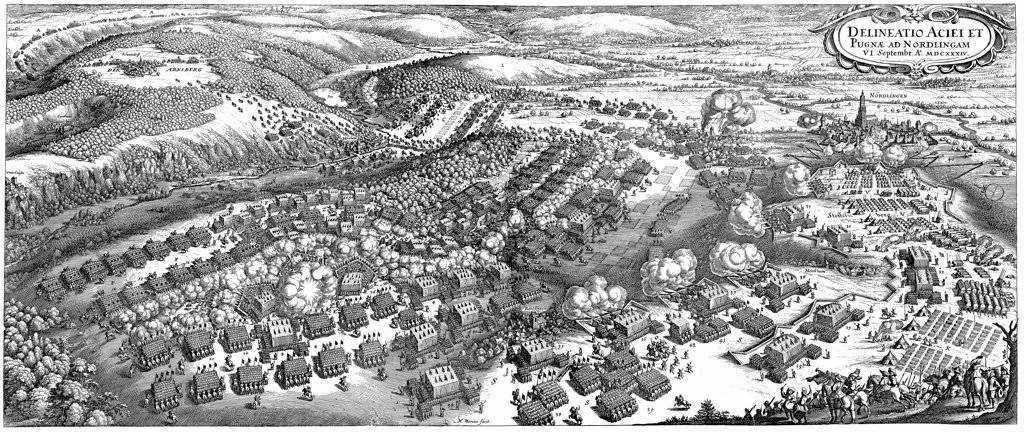 Stock Photo: 4266-7537 Battle of Noerdlingen by Matthaus Merian Elder, copper engraving, 1670, 1593-1650, Private Collection