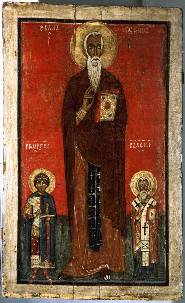 Stock Photo: 4266-7557 Saint George by unknown painter, tempera on panel, 13th century, Novgorod School, Russia, St Petersburg, State Russian Museum, 108x67,5