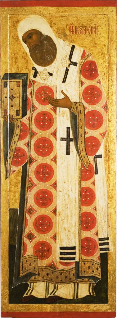 Stock Photo: 4266-7559 Metropolitan Peter by unknown painter, tempera on panel, 16th century, Novgorod School, Russia, Novgorod, State Open-air Museum of History and Architecture Novgorodian Kremlin, 147x54.2