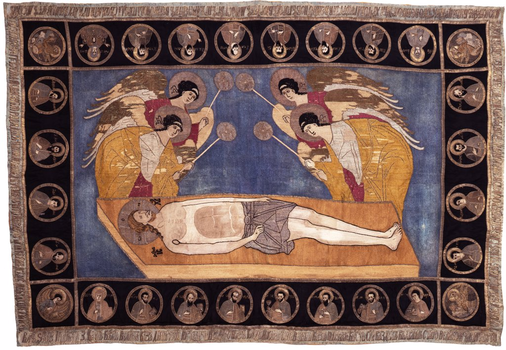 Stock Photo: 4266-7560 Jesus Christ in tomb by unknown artist, wool, silk, gold and silver threads, 1444, Moscow School, Russia, Novgorod, State Open-air Museum of History and Architecture Novgorodian Kremlin, 124x183