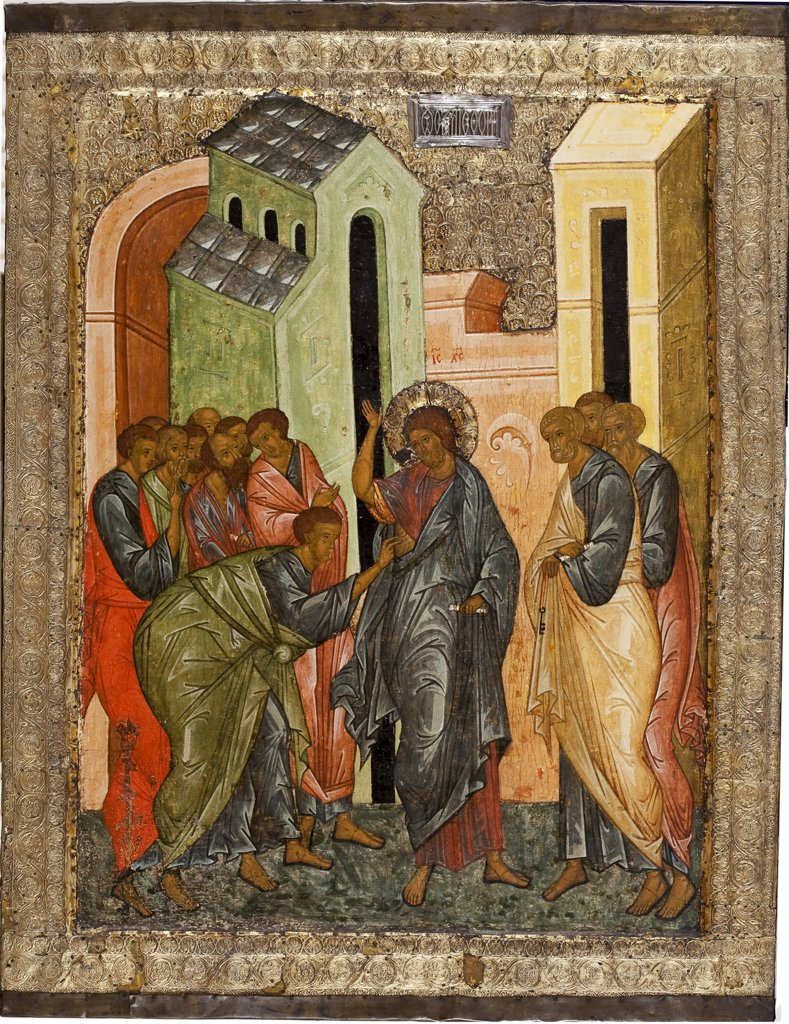 Stock Photo: 4266-7568 Incredulity of St Thomas by unknown painter, tempera on panel, 1497, Moscow School, Russia, Kirillov, Kirillo-Belozersky Monastery, Cathedral of Dormition, 84x64,2
