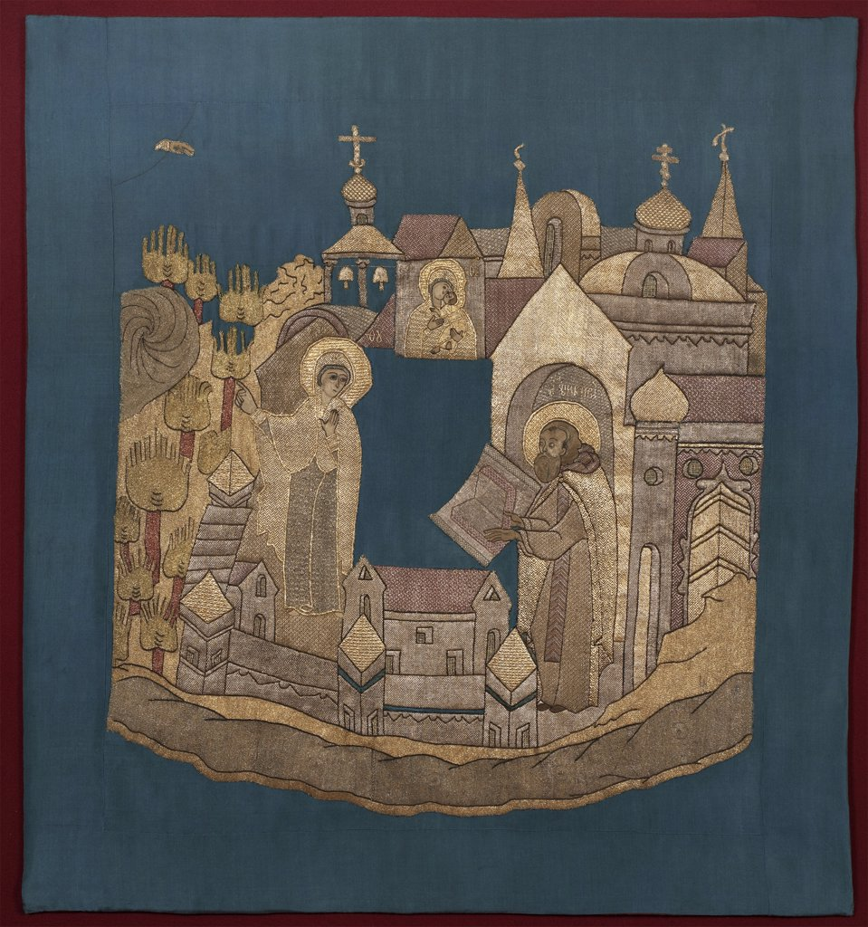 Stock Photo: 4266-7569 Tapestry depicting Saint Cyril of Belozersk by unknown artist, wool, silk, gold and silver threads, 1620–1635, Moscow School, Russia, Kirillov, Kirillo-Belozersky Monastery, Cathedral of Dormition, 96,5x89