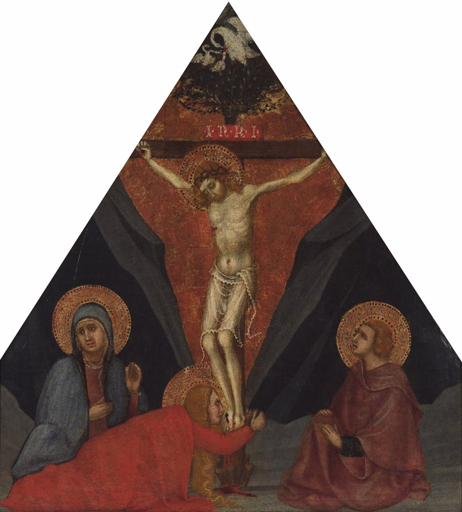 Stock Photo: 4266-7623 The crucifixion by Andrea di Bartolo, Tempera on panel, circa 1400, before 1389-1428, USA, New York, The Kress Collection, 43,8x 40,6