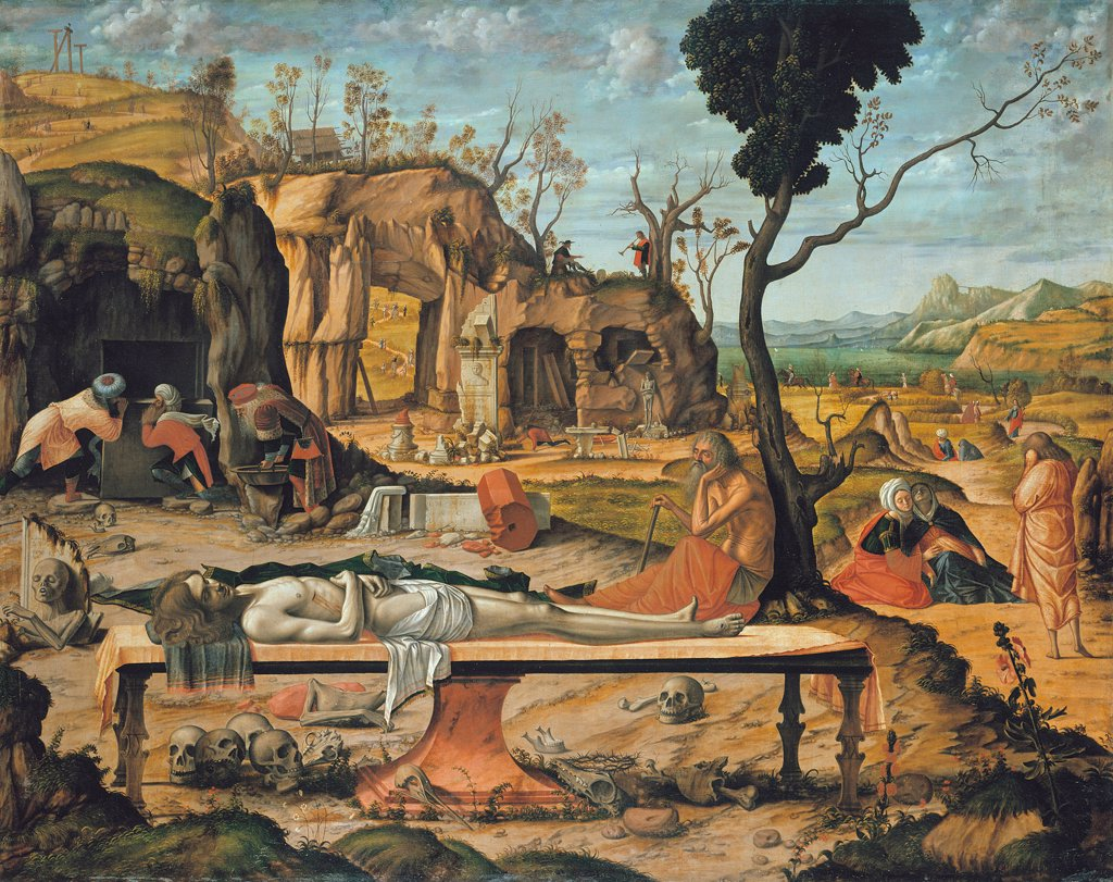 Stock Photo: 4266-7685 Dead body of Jesus Christ by Vittore Carpaccio, Oil on canvas, 1505, 1460-1526, Germany, Berlin, Staatliche Museen, 185x145