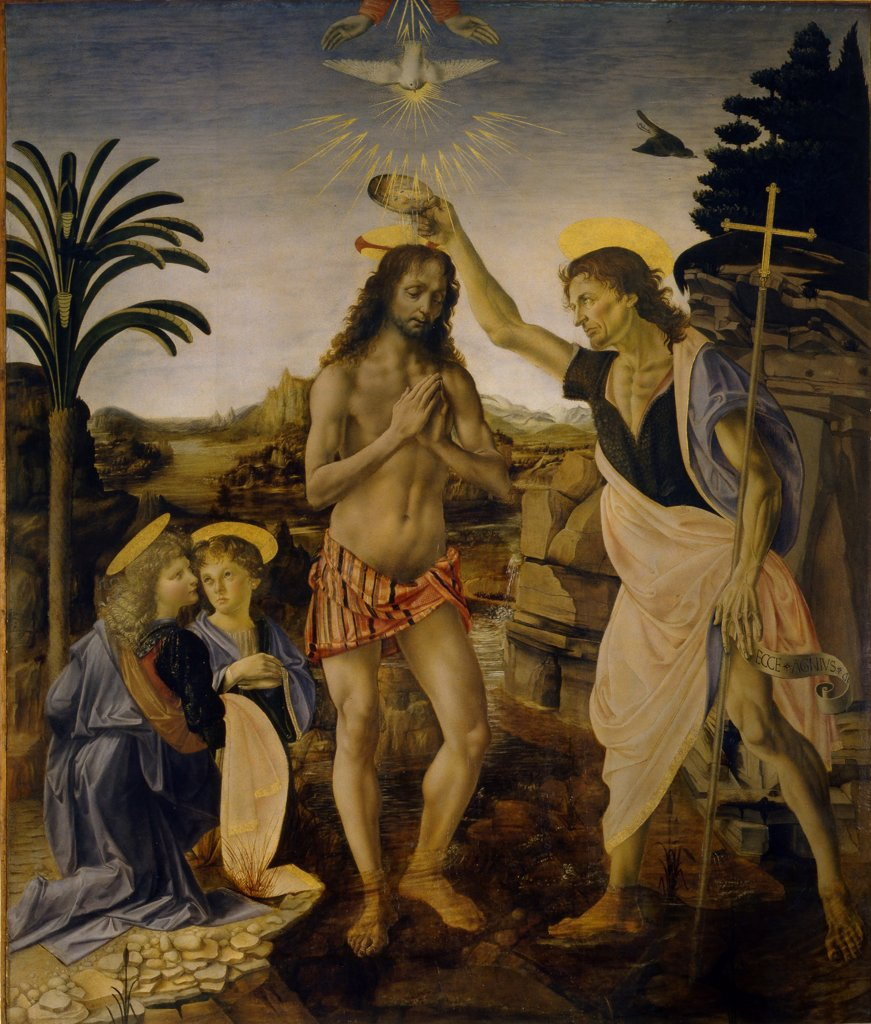 Stock Photo: 4266-7716 Baptist of Jesus Christ by Leonardo da Vinci, Tempera and oil on wood, circa 1470-1475, 1452-1519, Italy, Florence, Galleria degli Uffizi, 152x180