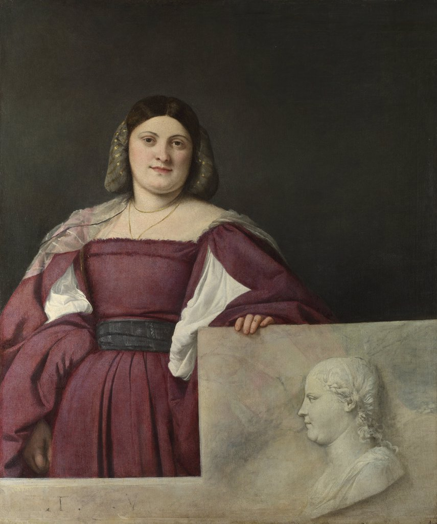 Portrait of Venetian Lady by Titian, Oil on canvas, circa 1510, 1488-1576, Great Britain, London, National Gallery, 119,4x96,5 : Stock Photo