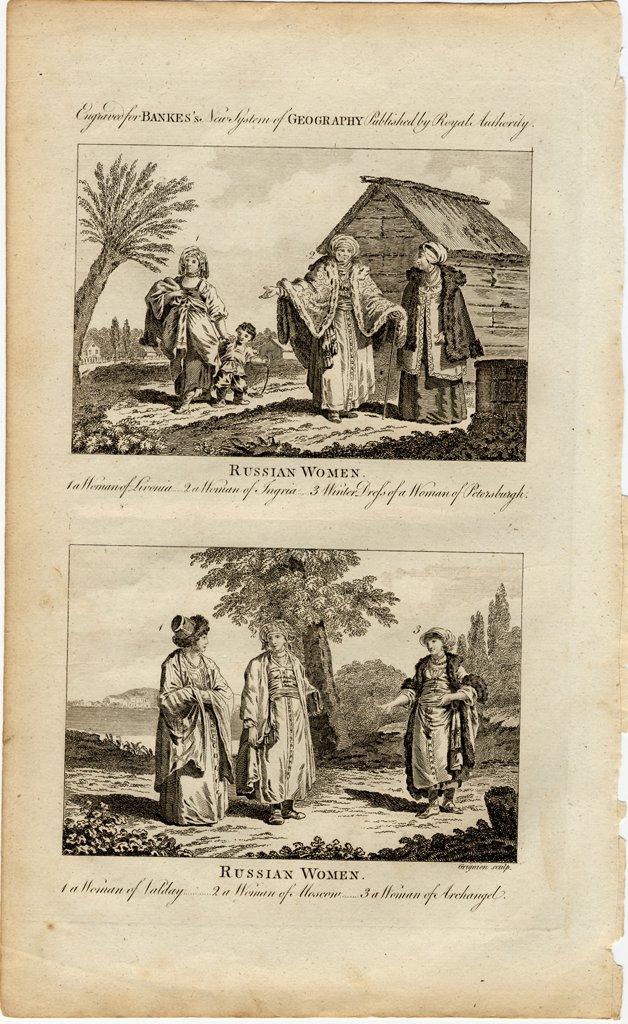 Illustration of russian people by William Grainger, Etching, circa 1730, active 1784-1793, Private Collection, 24,1x36,8 : Stock Photo