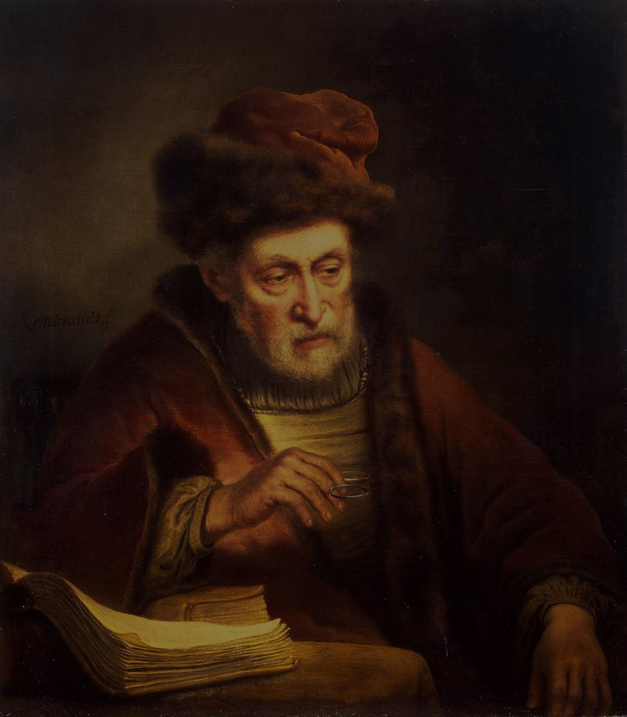 Portrait of old man holding ring by Karel van der Pluym, Oil on canvas, 1625-1672, Russia, St. Petersburg, State Hermitage, 86,5x76 : Stock Photo