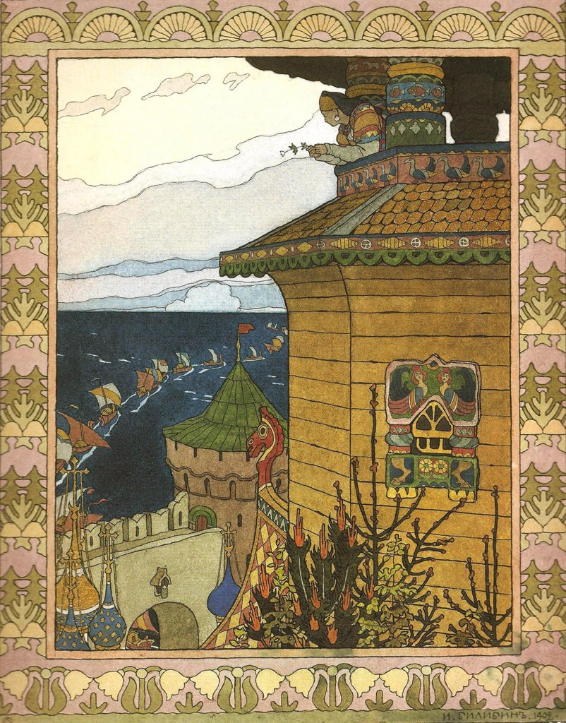 Stock Photo: 4266-7802 Bilibin, Ivan Yakovlevich (1876-1942) Museum of the Goznak, Moscow 1902 Colour lithograph