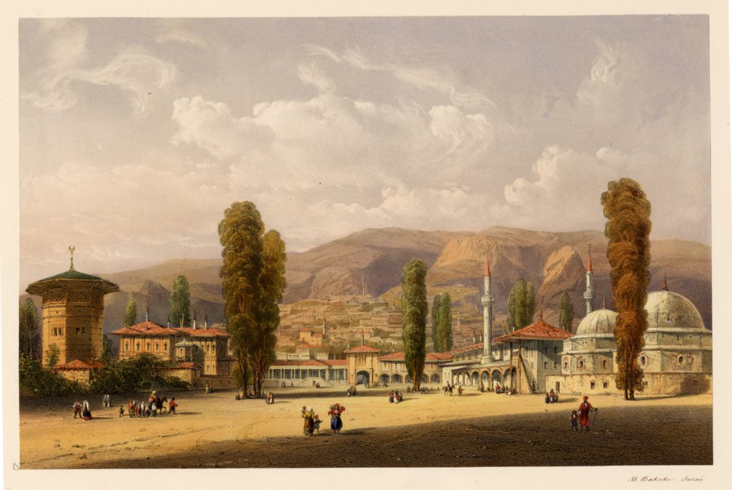 Fountain of Bakhchisaray by Carlo Bossoli, colour lithograph, 1856, 1815-1884, Private Collection : Stock Photo