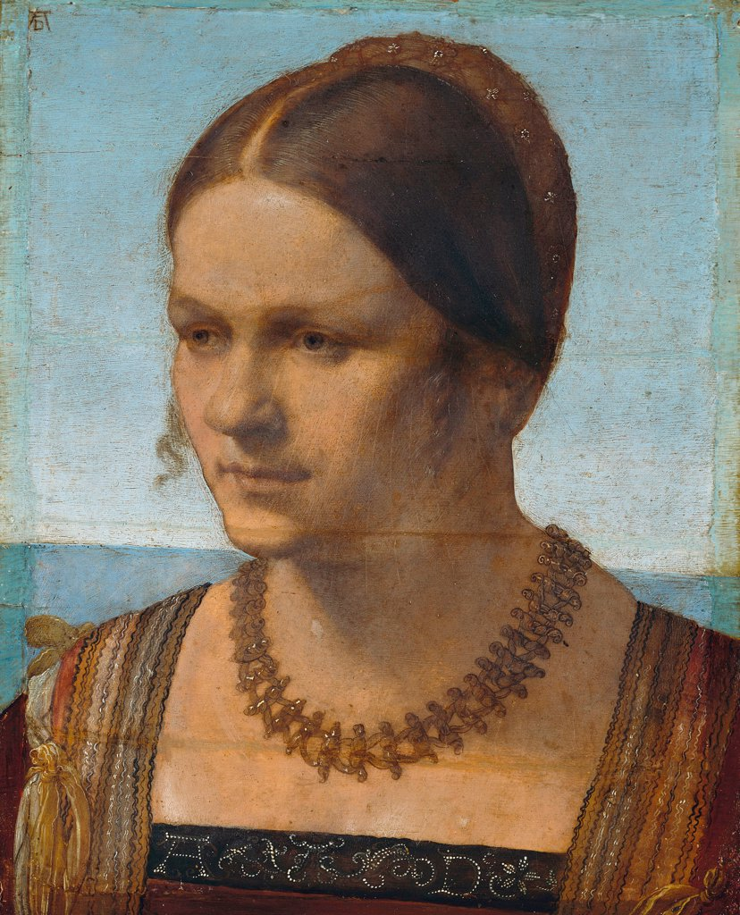 Venetian Lady by Albrecht Durer, Oil on wood, 1506, 1471-1528, Germany, Berlin, Staatliche Museen, 21,5x28,5 : Stock Photo