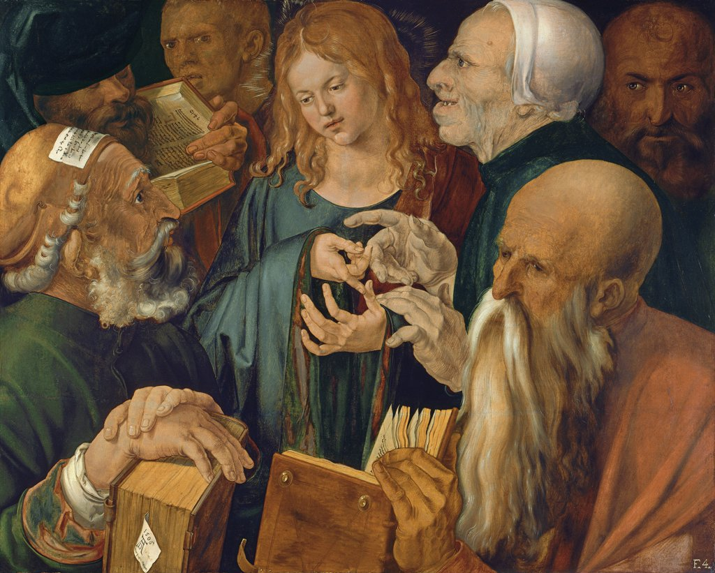 Stock Photo: 4266-7915 Christ among Doctors by Albrecht Durer, Oil on wood, 1506, 1471-1528, Thyssen-Bornemisza Collections, 80,3x64,3