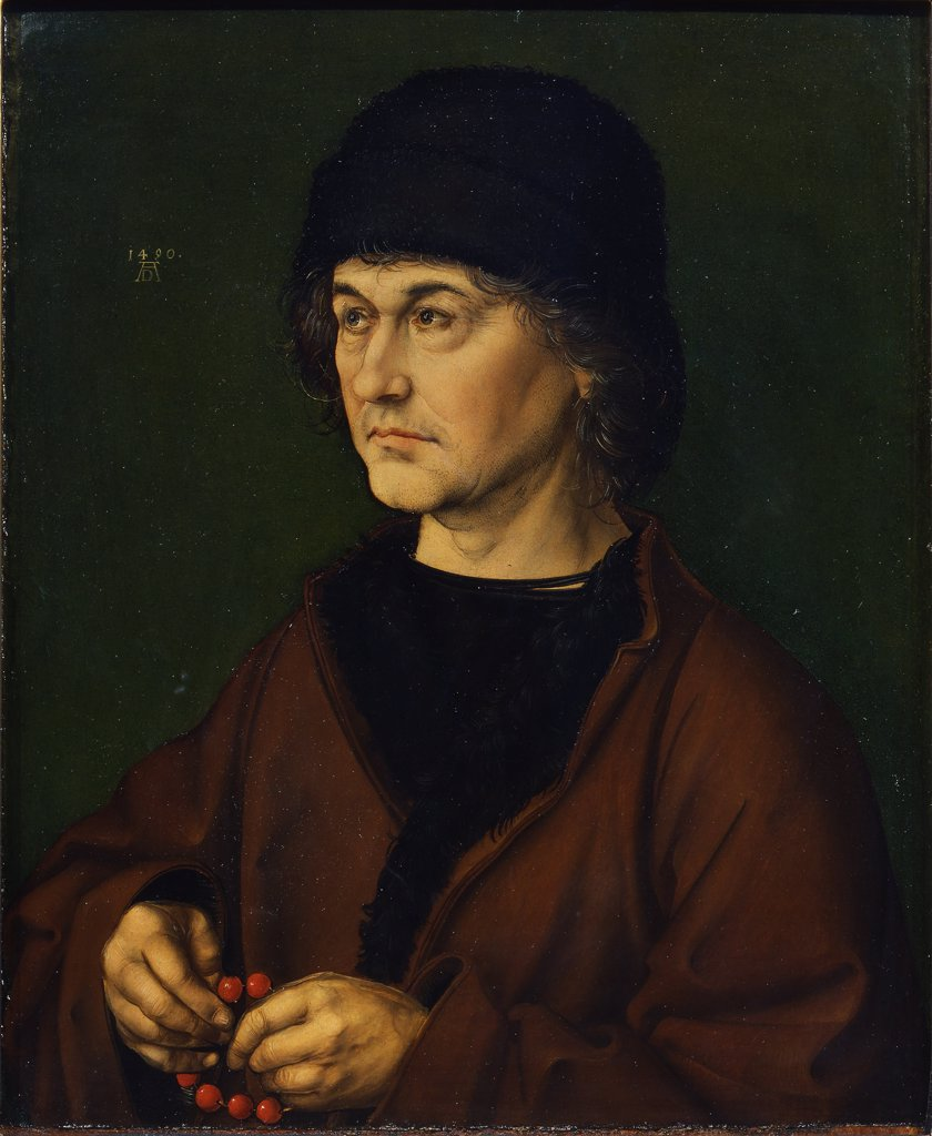 Portrait of man holding rosary by Albrecht Durer, Oil on wood, 1490, 1471-1528, Italy, Florence, Galleria degli Uffizi, 39,5x47,5 : Stock Photo