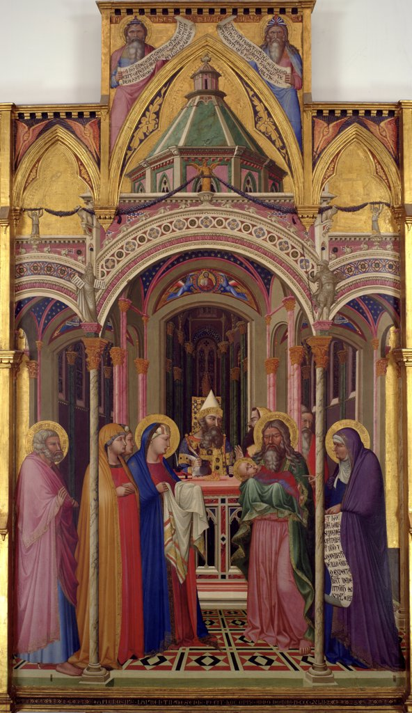 Stock Photo: 4266-7924 Meeting of Lord by Ambrogio Lorenzetti, Tempera on panel, 1342, circa 1290- circa 1348, Italy, Florence, Galleria degli Uffizi, 168x257
