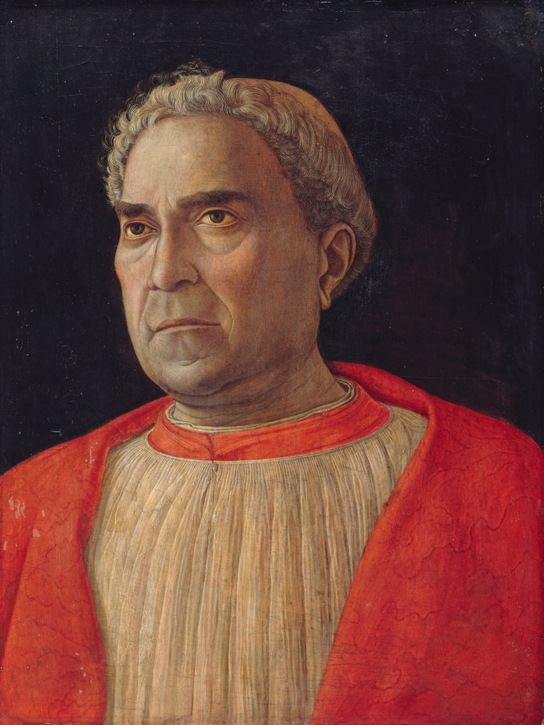 Stock Photo: 4266-7929 Portrait of Ludovico Trevisano by Andrea Mantegna, Tempera on panel, circa 1459, 1431-1506, Germany, Berlin, Staatliche Museen, 44x33