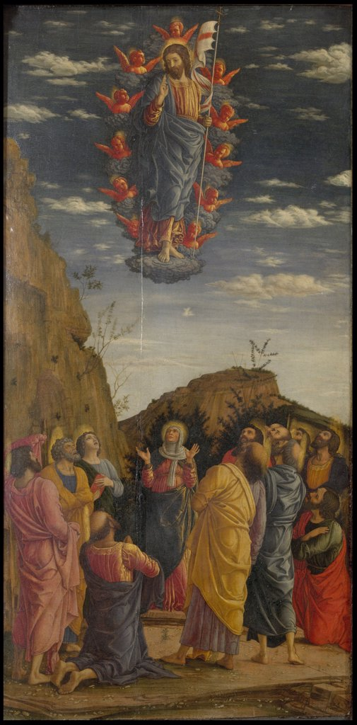 Revelation by Andrea Mantegna, Tempera on panel, circa 1463-1464, 1431-1506, Italy, Florence, Galleria degli Uffizi, 161,5x86 : Stock Photo