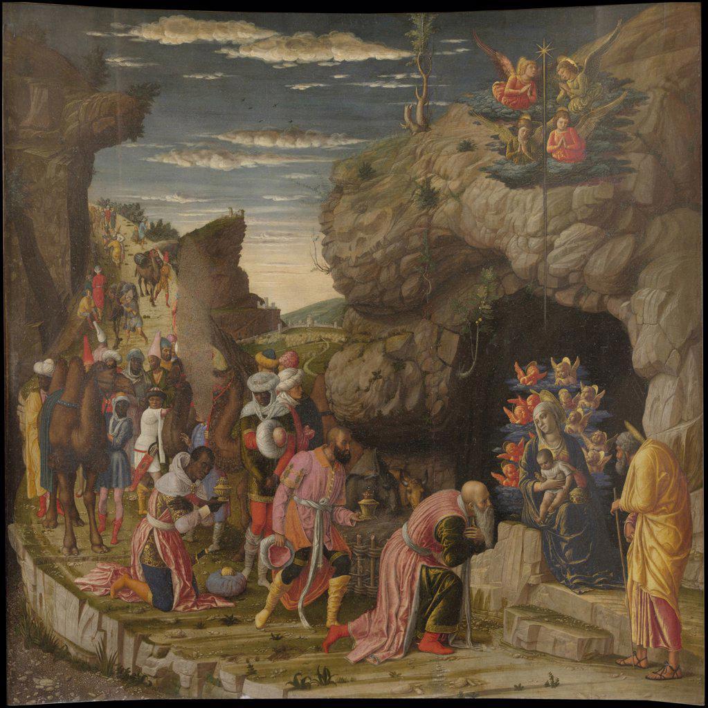 Stock Photo: 4266-7933 Adoration Of Magi by Andrea Mantegna, Tempera on panel, circa 1463-1464, 1431-1506, Italy, Florence, Galleria degli Uffizi,