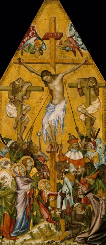 The crucifixion by Master of the Kaufmann Crucifixion, Tempera on panel, circa 1340, active circa 1350, Germany, Berlin, Staatliche Museen, 67x30,3 : Stock Photo