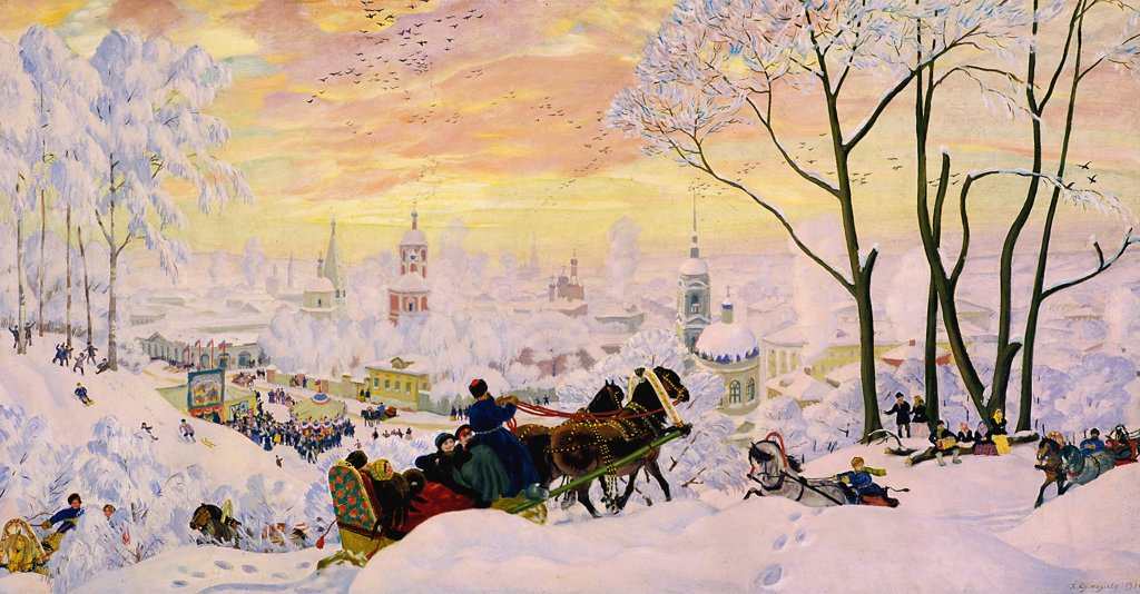 Stock Photo: 4266-7977 Winter landscape in Russia by Boris Michaylovich Kustodiev, Oil on canvas,1916, 1878-1927, Russia, Moscow, State Tretyakov Gallery, 61x123