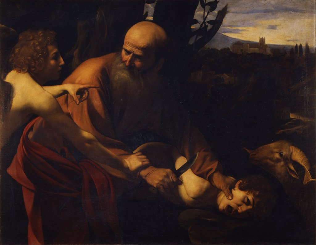 Sacrifice by Michelangelo Caravaggio,Oil on canvas, 1603-1604, 1571-1610, Italy, Florence, Galleria degli Uffizi, 104x135 : Stock Photo