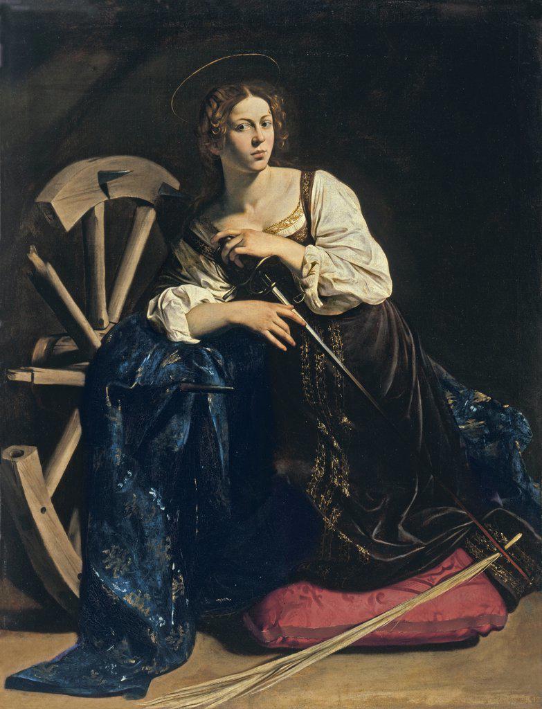 Stock Photo: 4266-7994 Saint Cathrine by Michelangelo Caravaggio, Oil on canvas, circa 1598, 1571-1610,Thyssen-Bornemisza Collections, 173x133