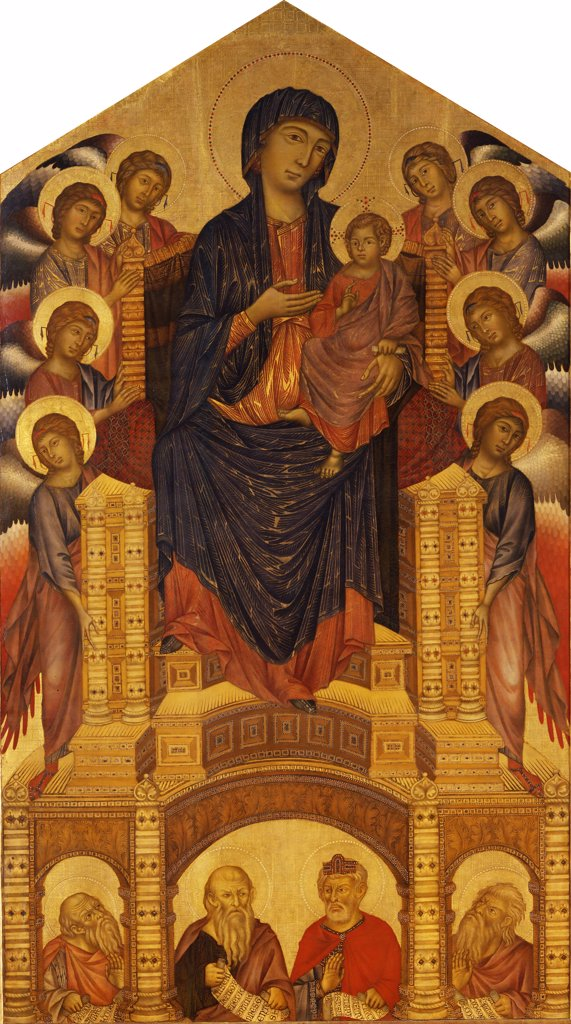 Stock Photo: 4266-8016 Madonna holding Jesus by Giovanni Cimabue, Tempera on panel, circa 1280, circa 1240-1302, Italy, Florence, Galleria degli Uffizi, 385x223
