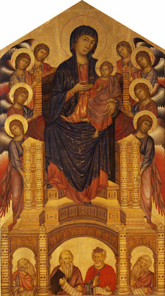 Madonna holding Jesus by Giovanni Cimabue, Tempera on panel, circa 1280, circa 1240-1302, Italy, Florence, Galleria degli Uffizi, 385x223 : Stock Photo