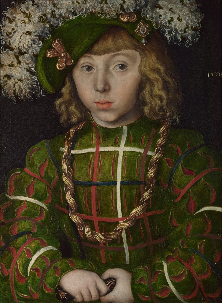 Portrait of John Frederick I of Saxony by Lucas Cranach the Elder, Oil on wood, 1509, 1472-1553, United Kingdom, London, National Gallery, 42x31,2 : Stock Photo
