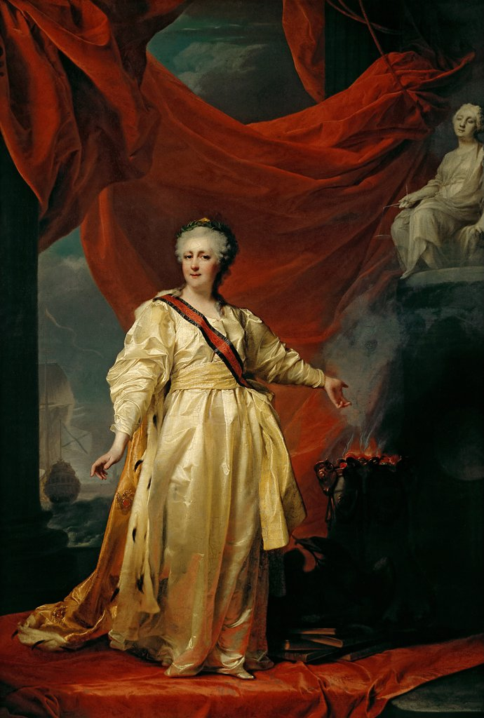 Stock Photo: 4266-8029 Empress Catherine II by Dmitri Grigorievich Levitsky, oil on canvas, 1780s, 1735-1822, Russia, Moscow, State Tretyakov Gallery, 110x76,8
