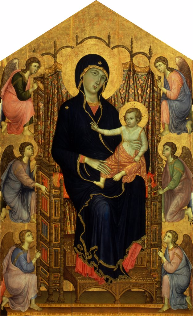 Stock Photo: 4266-8036 Virgin Mary with Jesus child by Duccio di Buoninsegna, tempera on panel, circa 1285-1286, circa 1255-1319, School of Siena, Italy, Florence, Galleria degli Uffizi, 450x290