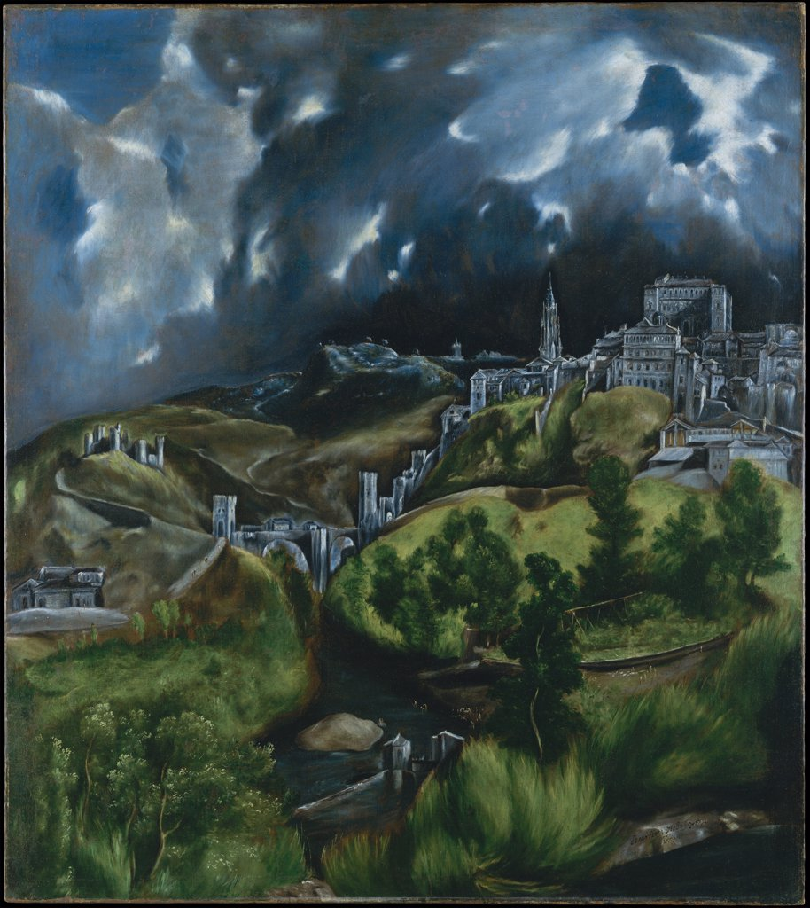 Toledo view by Dominico El Greco, oil on canvas, circa 1598, 1541-1614, USA, New York, Metropolitan Museum of Art, 121x108,6 : Stock Photo